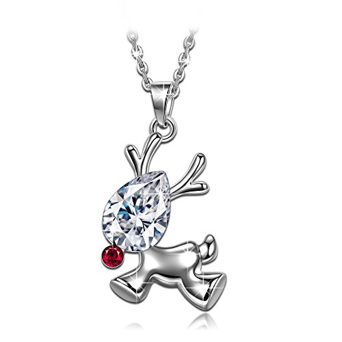 """LADY COLOUR """"The Red-nosed Rudolph"""" Christmas Reindeer Necklace Made with SWAROVSKI Crystals - Ideal Christmas Gift 2017"""