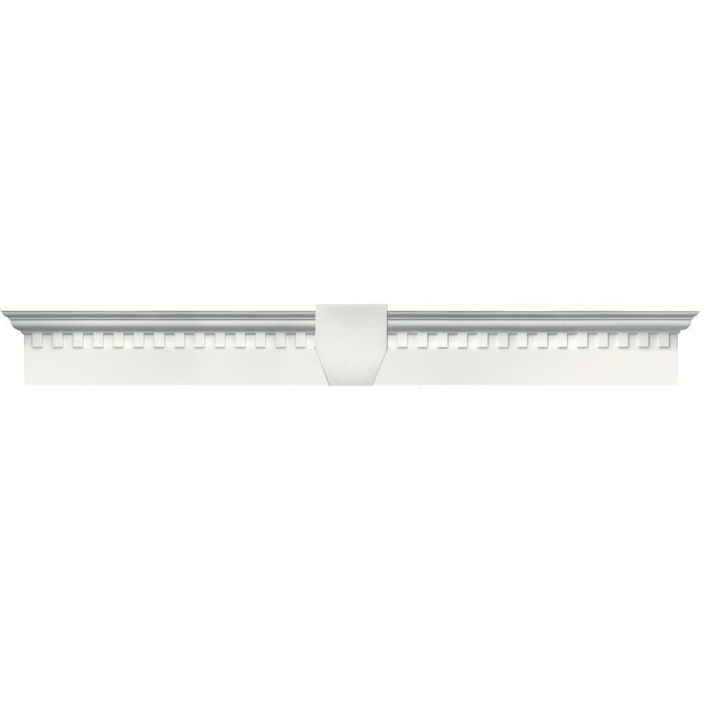 Builders Edge 060020643123 43 5/8'' x 6'' Classic Dentil Window Header 123, White