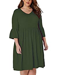 3005a0d558d7 Women's Plus Size Casual T-Shirt Midi Dress 3/4 Flare Sleeve Solid Knee