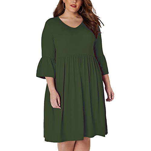 Ancapelion Women's Plus Size Casual T-Shirt Midi Dress 3/4 Flare Sleeve Solid Knee Length Jersey Dress for Women (Olive Green, 3X) ()