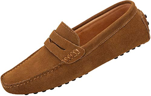 JIONS Men's Driving Penny Loafers Suede Driver Moccasins Slip On Flats Casual Dress Shoes Khaki 13...