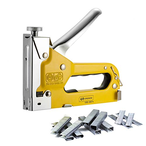 GORCHEN Staple Gun with Staples Hand Operated 3 Way Stapler Tacker Tool Kit for Upholstery, Cable Wire, Wood, DIY, Decoration, etc ()