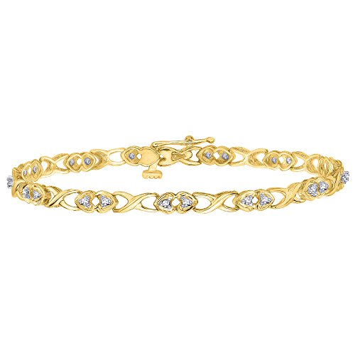 KATARINA Diamond Heart Tennis Link Bracelet in Gold 1 4 cttw, J-K, I2-I3