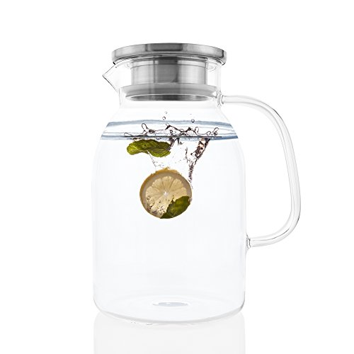 Glass Pitcher With Lid By Golden Spoon: Durable 60oz Glass C