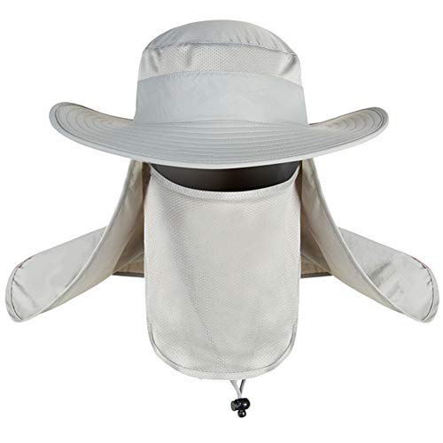 Removable Cloak - Unisex Fisherman Hat 360 Degrees UPF 50+ Sun Protection Removable Folding Fishing Cap Shield Mesh Mouth Mask and Cloak Adjustable Summer Sun Hat Bucket Hat,Light Gray