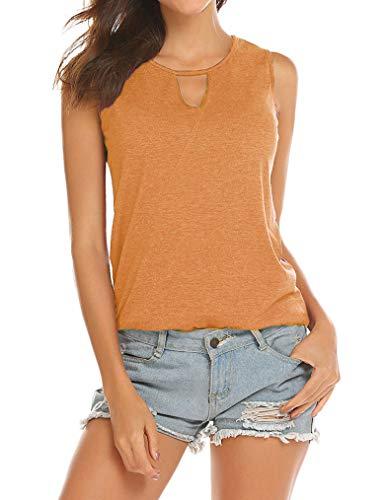 Poetsky Womens Backless Tank Tops Sleeveless Keyhole Blouse Sexy Summer Tshirt (L, Orange) ()