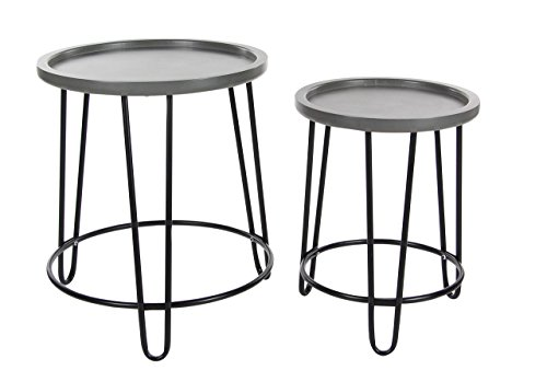Deco 79 60172 Metal and Wood Accent Table Set of 2, 19'' H, 22'' H, Gray/Black by Deco 79