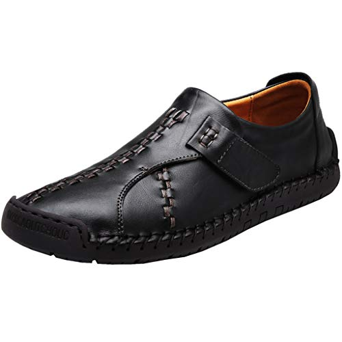 YKARITIANNA Men Solid Color Round Toe Sewing Flat Heel Shallow Mouth Leather Shoes Black