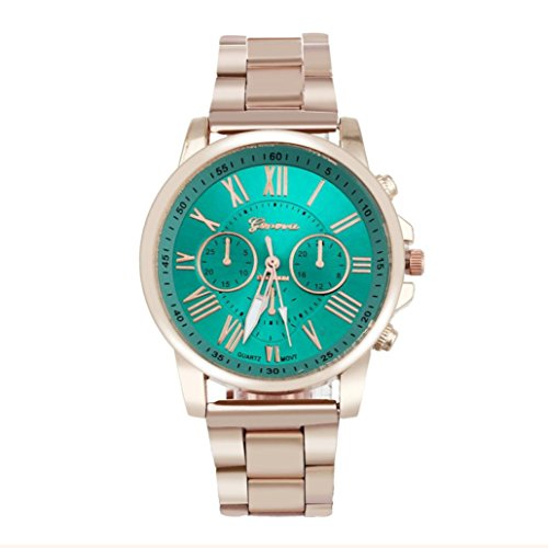 Napoo Unisex Luxury Stylish Fashion Roman Number Geneva Stainless Steel Quartz Sports Dial Wrist Watch (Geneva Gold Bracelets)