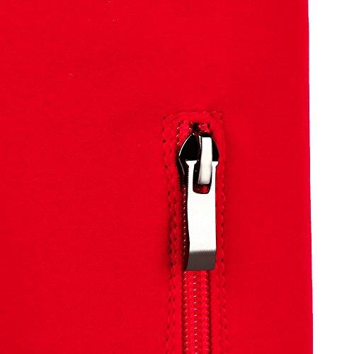 AgooLar Damen Rein Hoher Absatz Reißverschluss Rund Zehe Stiefel mit Anhänger Rot