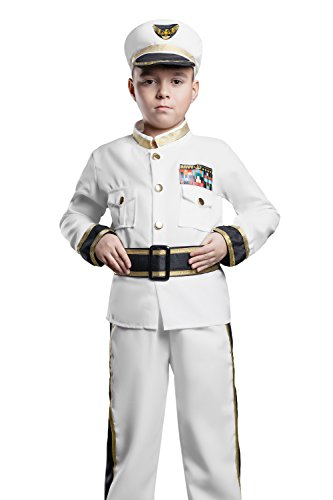 Kids Boys Yacht Captain Halloween Costume Sea Naval Admiral Dress Up & Role Play (3-6 years, white, (Boys Dress Up Ideas)
