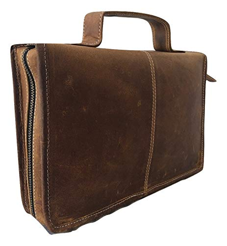 Universal Genuine Buffalo Leather Classic Bible Cover Carry Case Book Cover with Back Pocket & Handle Fits for Standard Size Vintage Brown Organizer for Men & Women
