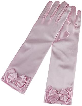 Kids Girls Fashion Exquisite Cute Bow Satin Full-fingered Special Occasion Evening Prom Wedding Gloves 6-14Yrs