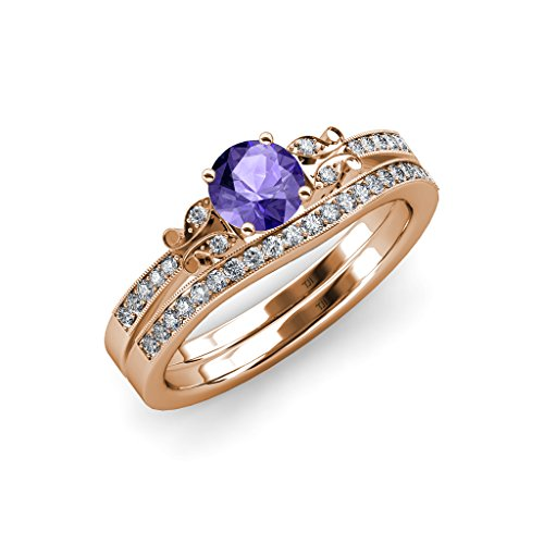 Iolite and Diamond Butterfly Engagement Ring & Wedding Band Set 1.30 ct tw in 14K Rose Gold.size 9.0 ()