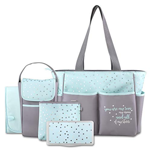 Diaper Bag Tote 5 Piece Set with Sun, Moon, and Stars, Wipes Pocket, Dirty Diaper Pouch, & Changing Pad (Top Rated Diaper Bags)