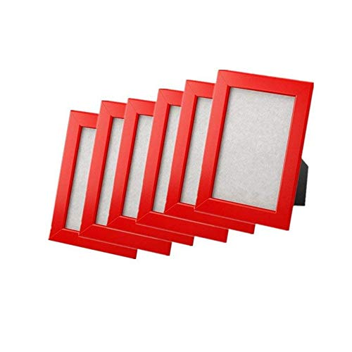 (New frame photo picture 4x6 Multicolor FISKBO, set of 6 (4X6, red))