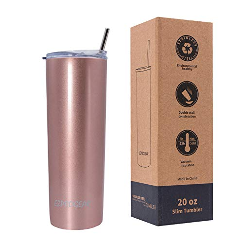 Ezprogear 20 oz Rose Gold Stainless Steel Slim Skinny Tumbler Vacuum Insulated with Straw (20 oz, Rose Gold)