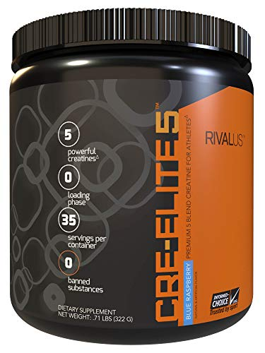 Rivalus Cre-elite5 35 Serving Pre Workout Powder, Blue Raspberry, 0.9 Pound