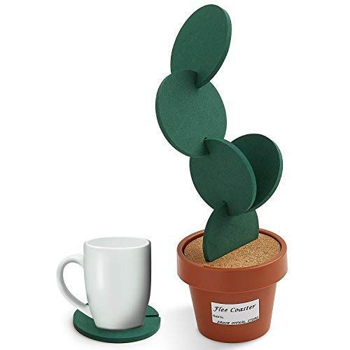 Drhob Flee 6-Piece Green Coaster Set with Flower Pot Shaped Holder for Drinks
