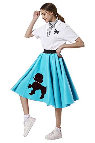 Vintage Poodle Skirt (Newcos Adult Poodle Skirt with Musical Note Printed Scarf Women Vintage 1950s Pink Ladies (L,)