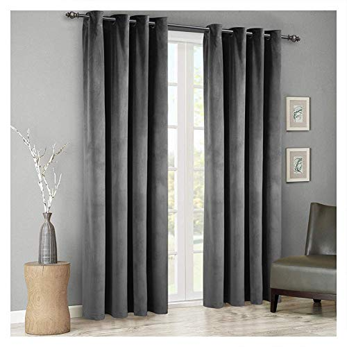 SINGINGLORY Grey Velvet Curtains 2 Panels Luxury Blackout Grommet Window Drapes for Bedroom and Living Room 52 x 96 Inch, Gray