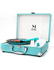 Record Player, Portable Mini Suitcase Turntable for 7 Inch Vinyl Record, Belt-Drive 2-Speed Turntable with Built in Stereo Speakers(Blue)