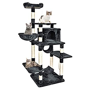 Image of B BAIJIAWEI Tall Cat Tree - 67' Large Cat Condo - Kitty Tower with Scratching Post, Hammock Bed, Feeding Bowel - Multi Level Cat Climbing Activity Tree for Cats, Kitten, Pets Pet Supplies