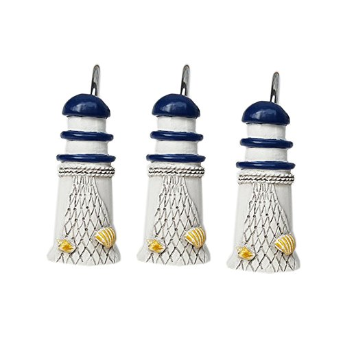 YYC Set of 12 Resin Lighthouse Starfish Stainless Steel Shower Curtain Hooks (B) from YYC