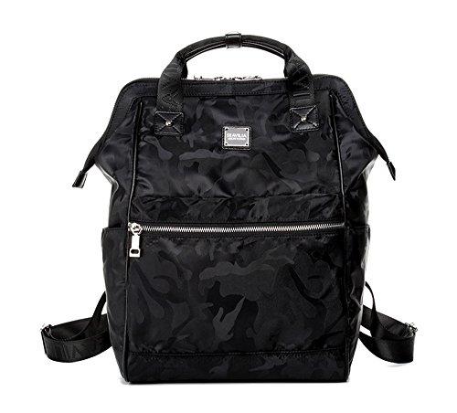 Bolso de hombro de viaje hembra de la marea salvaje de gran capacidad versión coreana de Oxford bolsa de lona tela Mochila de la momia ( Color : Morado oscuro , Tamaño : 27.5*14.5*39.5cm ) Negro