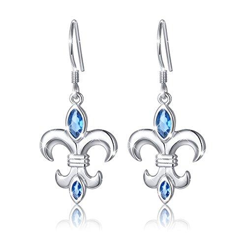 ALPHM Fleur De Lis S925 Sterling Silver Dangle Drop Flower Earrings for Women Girl