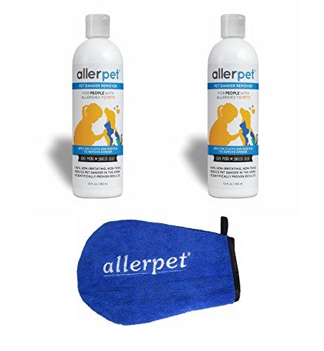 Allerpet Single Solution (Allerpet Pet Dander Remover, 12 oz Bottles + Bonus Pet Mitt Applicator to Easily Apply Solution to Your Pet (2 Pack))