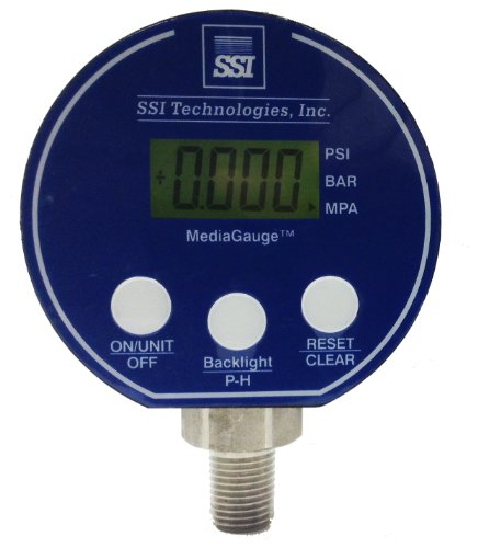 SSI TECHNOLOGIES MG-9V Series Media Gauge Digital Pressure Gauge Sensor with LCD Display, 200psig Operating Pressure, 9V, 0.25% Accuracy, 1/4-18 NPT Male Process Connector Type