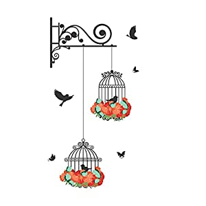 Decals Design 'Hanging Birds Cage with Flowers' Wall Sticker (PVC Vinyl, 50 cm x 70 cm)