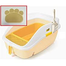 CATIDEA CL3 Yellow Luxury Sifting Cat Litter Box with High Back and Sides