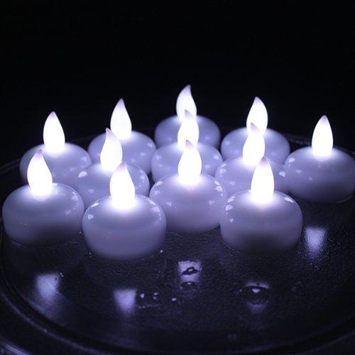 IMAGE Floating Candles, Flameless Floating LED Tea Lights 12 Pack Waterproof Tealight Candles for Wedding Party Spa Home Indoor Outdoor Decor-Cool White]()