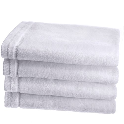 (Creative Scents Cotton Velour Hand Towel Set - (4 Pack -16 x 26 inches) Large Extra Soft Gym Towels for Face, Salon and Spa - Luxury Guest Hand Towels for Bathroom (White) )