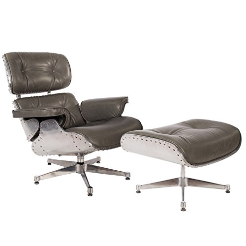 Mid Century Modern Classic Aluminum Pewter Aviator Lounge Chair & Ottoman With Premium Grey Wax PU Leather Classic Plywood Style Design Replica (1950's Metal Outdoor Furniture)