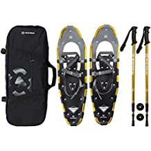 """Winterial Highland Snowshoes 30"""" Lightweight Aluminum Rolling Terrain Gold Snow Shoes Carry Bag Adjustable Poles"""