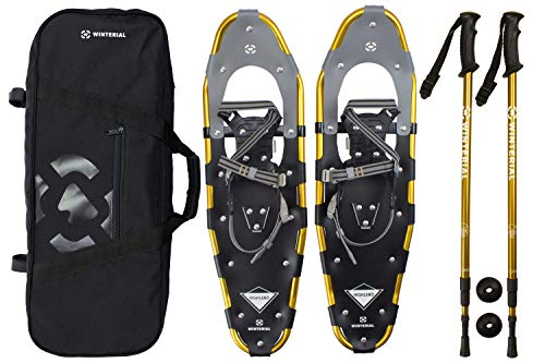 Winterial Highland Snowshoes 30 Inch Lightweight Aluminum Rolling Terrain Gold Snow Shoes with Carry Bag and Adjustable Poles