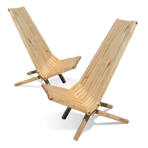 Modern Patio Chairs - GloDea X45P1NS2 Lounge Chair, Natural, Set of 2