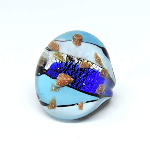Murano Glass Womens Ring Lampwork Handmade Comfortable Blue Silver Foil