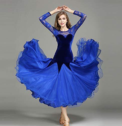 社交ダンスドレス ラテンドレス モダンドレス ロングワンピースダンスウェア レディース おしゃれ 長袖ワンピース B07H3T5MVM Large|ブルー ブルー Large