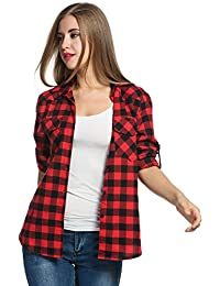 Women's Plaid Flannel Shirt, Roll up Long Sleeve Checkered Cotton Shirt