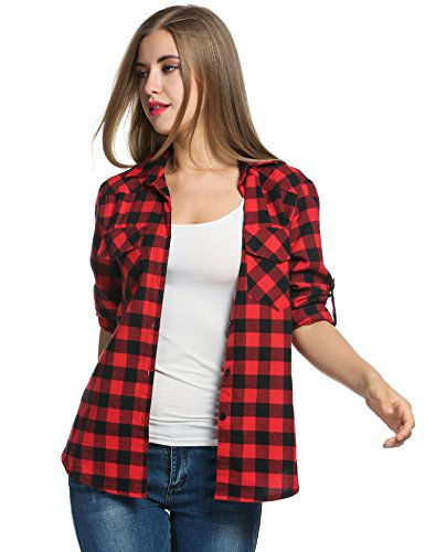 Women's Plaid Flannel Shirt, Roll Up Long Sleeve Checkered Cotton Shirt (Large, Red)