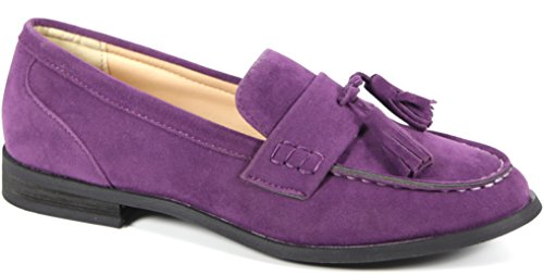 Purple Loafers Womens Fashion Suede Vegan Oxee Bucco Leather qwfOxX4fY