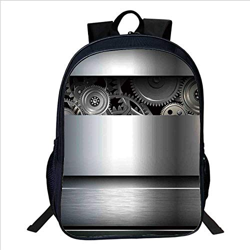 "Industrial Multifunctional School Bag,Technological Gears Robotic Future Imagination Clockwork Science Modern Artwork for School Travel,11""L×6""W×15""H"