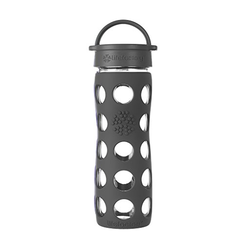 Lifefactory 16-Ounce BPA-Free Glass Water Bottle with Leakproof Classic Cap and Silicone Sleeve, Carbon ()