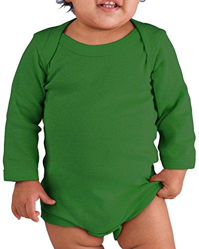 Rabbit Skins Drop Ship Infant Baby Rib Lap Shoulder Long Sleeve Creeper, 18MOS, KELLY
