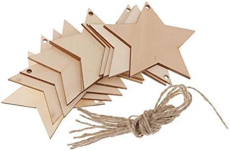 ナチュラルカラー 星形 木製タグ カード作り 贈り物カード 縫製工芸品 壁掛け飾り ロープ付き 10枚入り
