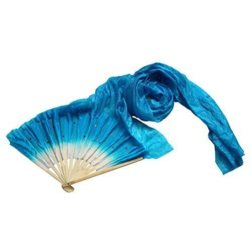PatyHoll 1.8M Hand Made Belly Dance Dancing Silk Bamboo Long Fans Veils Blue